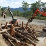 Construction of log jams on the O'Connell River in Sep 2012